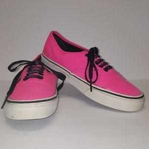 Vans hot pink sneakers lace up 6.5Men/8Women